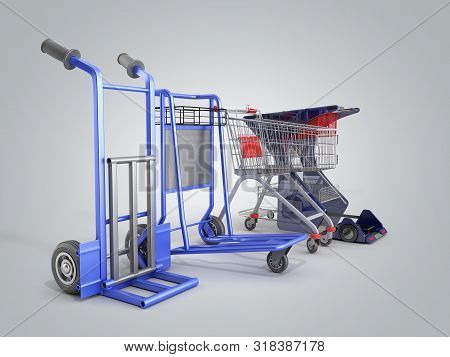 A Set Of Supermarket Trolleys For Different Loads 3d Render On Grey Gradient