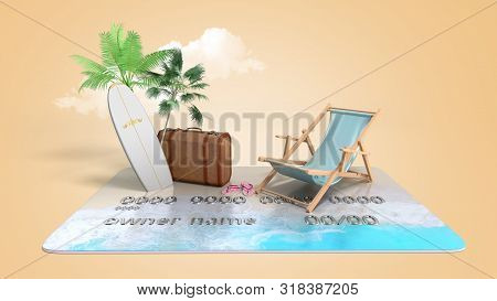 Vacation Savings Concept Payment Of Vouchers By Card Chaise Lounge Suitcase And Palm Trees Stand On
