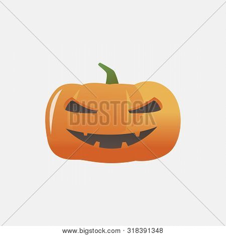 Halloween Pumpkin Smiling Vixenly. Cucurbit, Autumn, Holiday. Halloween Concept. Vector Illustration