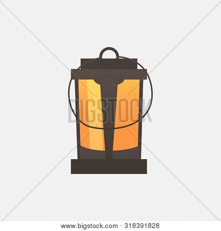 Old Lantern Vector Illustration. Holiday, Witchery, Autumn. Halloween Concept. Vector Illustration C