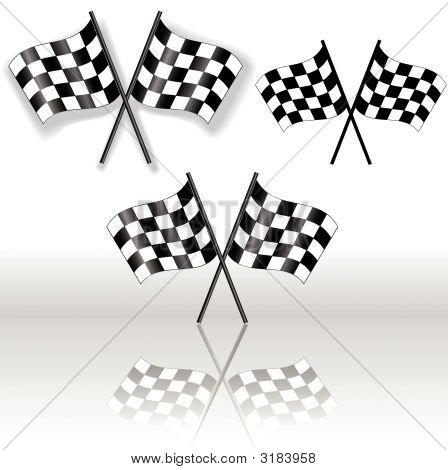 Checkered Flags Crossed Gradient Shadow Reflection Symbol