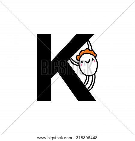 K Letter Hand Drawn Cartoon Illustration With Cute Cartoon Comic Man Smiling