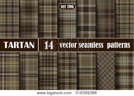 Set Brown Tartan Seamless Pattern