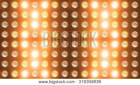 3d Rendering Of A Wall With Flashing Lights And Bright Spotlights. Perfect Background With Glow Effe
