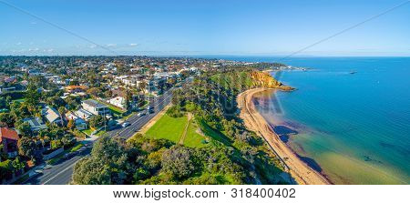 Aerial Landscape Of Beach Road And Black Rock Suburb On Beautiful Port Phillip Bay Coastline In Melb