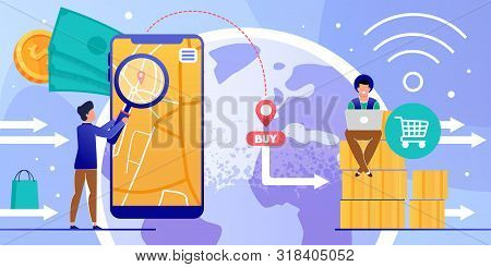 Online Shopping Via Mobile App And Laptop Cartoon. Man Using Phone Navigator For Finding Order Locat