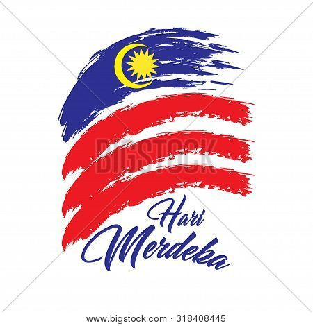 Hari Merdeka. Happy Independence Day In Malay. Malaysia Independence Day. 31 August. Greeting Card.