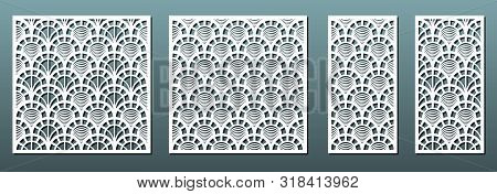 Laser Cut Panels With Geometric Pattern, Vector Set. Template For Metal Cutting, Wood Carving, Fretw