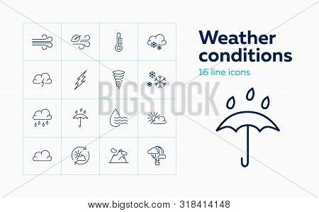 Weather Conditions Line Icon. Set Of Line Icons On White Background. Wind, Temperature, Rain. Climat