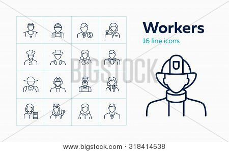 Workers Line Icon Set. Maid, Librarian, Practitioner, Banker, Chef. Occupation Concept. Can Be Used