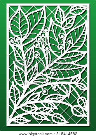Laser Cut Panels Vector Set With Floral Pattern. Template Or Stencil For Wood Carving, Metal Cutting