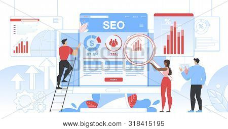 Seo Analytics Team It Specialists With Magnifier Glass And Tablet Working Around Analytic Web Pages