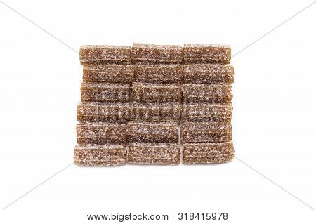 Gelatin jellies candy Cola flavored bars isolated on white background. poster