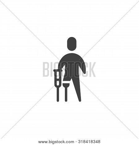 Disabled Man With Prosthetic Leg Vector Icon. Filled Flat Sign For Mobile Concept And Web Design. Di