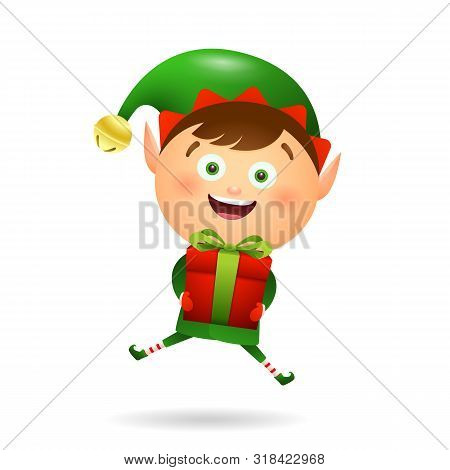 Joyful Xmas Elf Holding Gift. Giving Gifts, Presents, Box. Christmas Concept. Realistic Vector Illus