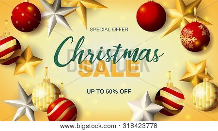 Christmas Sale Lettering With Baubles And Stars. Christmas Sale Advertising Design. Handwritten And