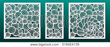 Laser Cut Template Pattern, Vector Set. Metal Cutting Or Wood Carving, Panel Design, Stencil For Fre