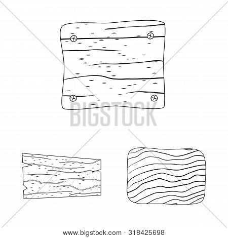 Isolated Object Of Hardwood And Material Symbol. Collection Of Hardwood And Wood Stock Vector Illust