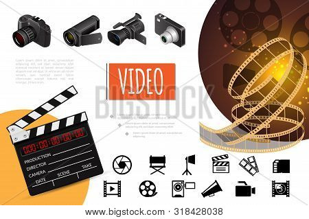 Cinema Elements Composition With Realistic Photo And Video Cameras Clapperboard Filmstrip And Flat C