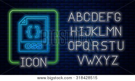 Glowing Neon Css File Document. Download Css Button Icon Isolated On Brick Wall Background. Css File