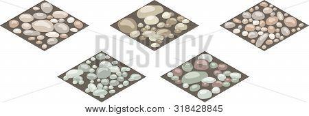 Isometric Stone Texture Tiles. Set Of Stones, Rocks, Cobble,shingle On Ground For Design Landscape S