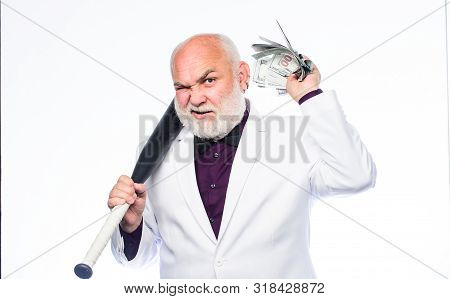 Successful businessman. Brutal business life. Racket and raiding. Kingpin concept. Black cash money. Money profit. Personal security. Senior man hold cash money and baseball bat. Richness wellbeing poster