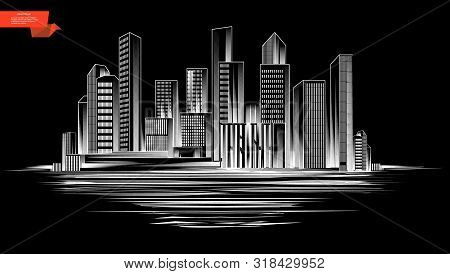Sketch Modern City Silhouette Concept With Monochrome Style Cityscape On Black Background Vector Ill