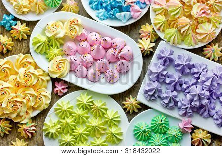 Set Of Colorful Homemade Meringue Cookies Different Shapes And Colors