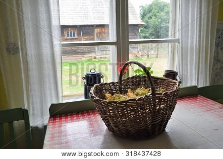 Osiek, Poland - August 16, 2019: Interior Of Old Wooden Farmstead In The Folk Culture Museum In Osie