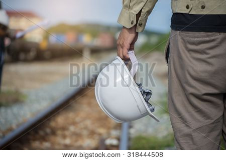Construction Engineer And Safety & Health Officer Concept.young Man Engineer Wear Safety Hat (helmet