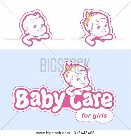 Diaper Logo Template. Baby In Diaper Emblem.