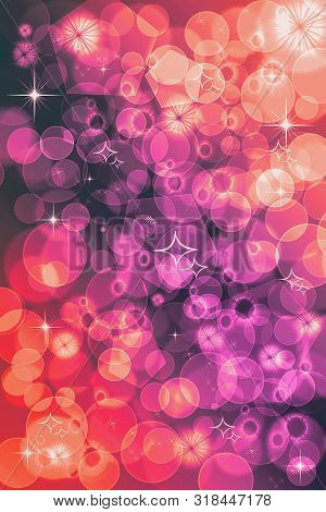 Abstract Defocused Bokeh Pattern Wallpaper. Red And Purple Blurred Background.