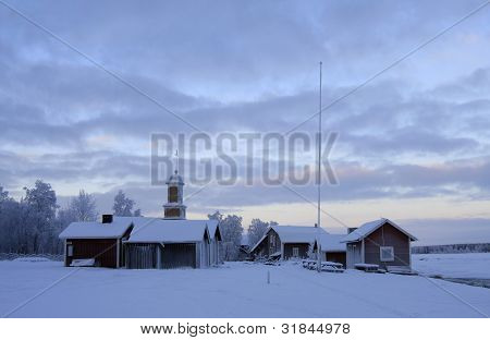 Houses close to the Arctic Circle.