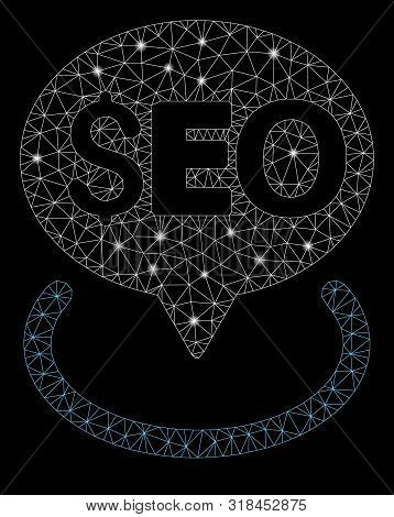 Glossy Mesh Seo Geotargeting With Glitter Effect. Abstract Illuminated Model Of Seo Geotargeting Ico