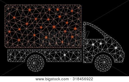 Glowing Mesh Shipment Car With Glitter Effect. Abstract Illuminated Model Of Shipment Car Icon. Shin