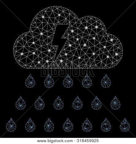 Glowing Mesh Thunderstorm Rain Cloud With Glare Effect. Abstract Illuminated Model Of Thunderstorm R