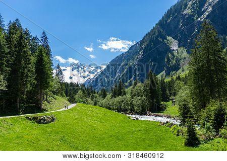 Summer Alps Mountain Scenery On Way To Stillup Valley, Austria, Tirol