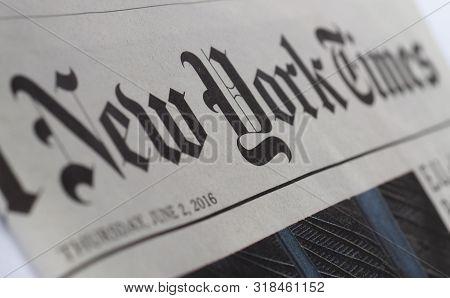 New York - Aug 2019: New York Times Newspaper Header Sign