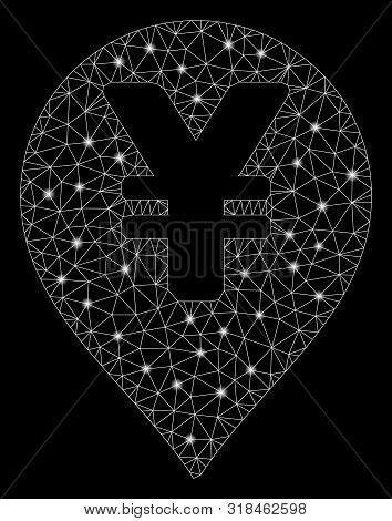 Glowing Mesh Yen Map Marker With Glow Effect. Abstract Illuminated Model Of Yen Map Marker Icon. Shi