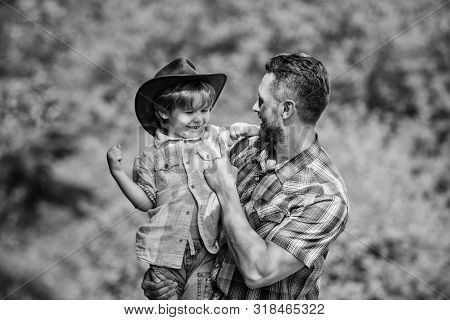 Spirit Of Adventures. Strong Like Father. Power Being Father. Child Having Fun Cowboy Dad. Rustic Fa