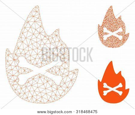 Mesh Hellfire Flame Model With Triangle Mosaic Icon. Wire Carcass Polygonal Mesh Of Hellfire Flame.