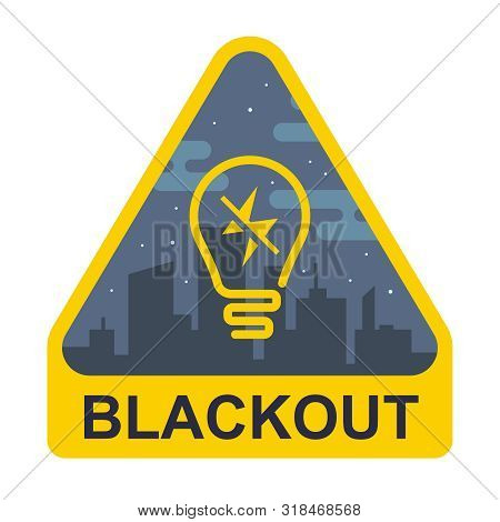 Blackout Sign. Yellow Triangle With A Light Bulb On A City Background. Flat Illustration.