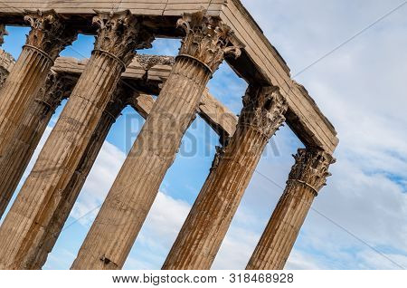 Temple Of Olympian Zeus, Athens, Greece, Detail Of Top Colonnade