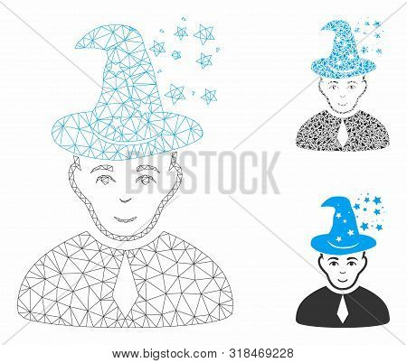 Mesh Magic Master Model With Triangle Mosaic Icon. Wire Frame Polygonal Mesh Of Magic Master. Vector