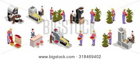 Coffee Industry Production 2 Rows Isometric Elements With Beans Harvesting Processing Roasting Packi