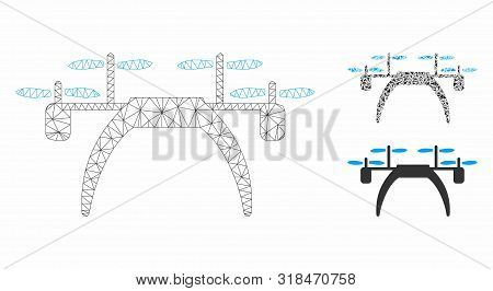 Mesh Quadcopter Model With Triangle Mosaic Icon. Wire Carcass Triangular Mesh Of Quadcopter. Vector