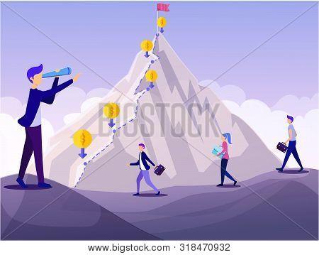 Mountain Peak Financial Goal Concept. Cartoon People Achievement Challenge Vector Illustration. Man