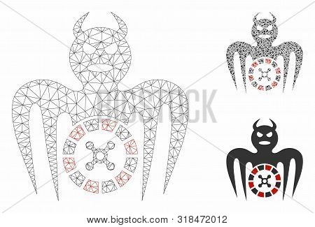 Mesh Roulette Spectre Devil Model With Triangle Mosaic Icon. Wire Frame Polygonal Network Of Roulett