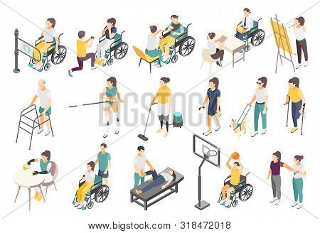 Disabled People Isometric Icons With Active Invalids Overcoming Difficulties In Everyday Life Volunt