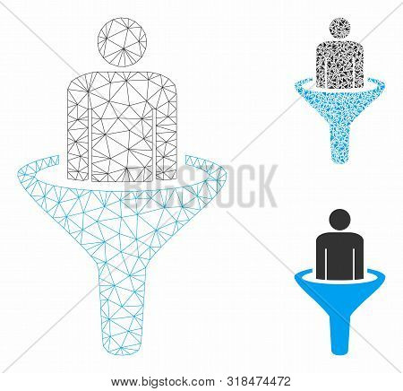 Mesh Sales Funnel Model With Triangle Mosaic Icon. Wire Frame Polygonal Mesh Of Sales Funnel. Vector